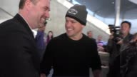 INTERVIEW Matt Damon talks about if Sylvester Stallone will win an Oscar arriving at LAX Airport in Los Angeles in Celebrity Sightings in Los Angeles