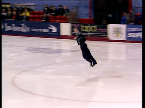 Matthew Davies attempts jump but misses landing and falls over British Figure Skating Championships Belfast Nov 99