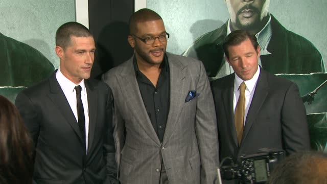 Matthew Fox Tyler Perry Edward Burns at Alex Cross Los Angeles Premiere on in Hollywood CA