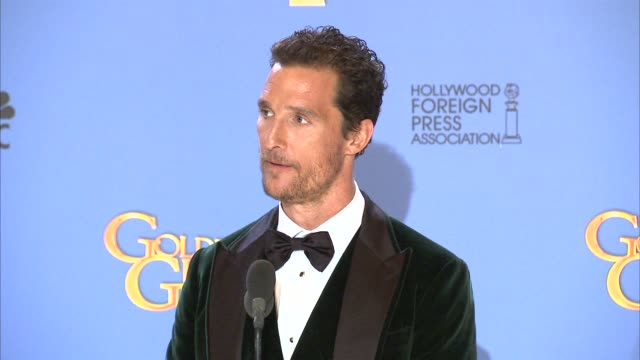 INTERVIEW Matthew McConaughey at the 71st Annual Golden Globe Awards Press Room at The Beverly Hilton Hotel on in Beverly Hills California