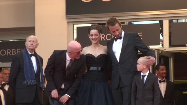 Matthias Schoenaerts Gilles Jacob Armand Verdure Marion Cotillard and Jacques Audiard at De Rouille et D'os Premiere 65th Cannes Film Festival on May...