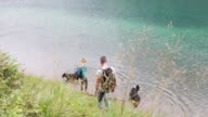 Mature adult couple with Dogs walking by lake