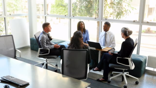 WS Mature businessman leading team meeting in office conference room
