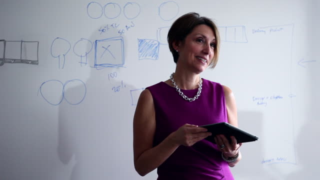 CU Mature businesswoman holding digital tablet in discussion with coworkers standing at whiteboard/Washington, USA