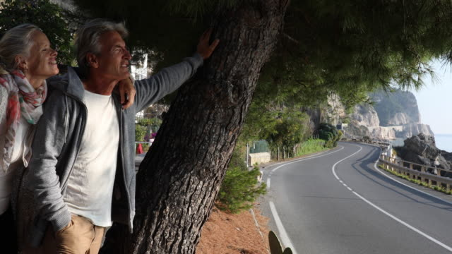 Mature couple leave car, look out over coastal road