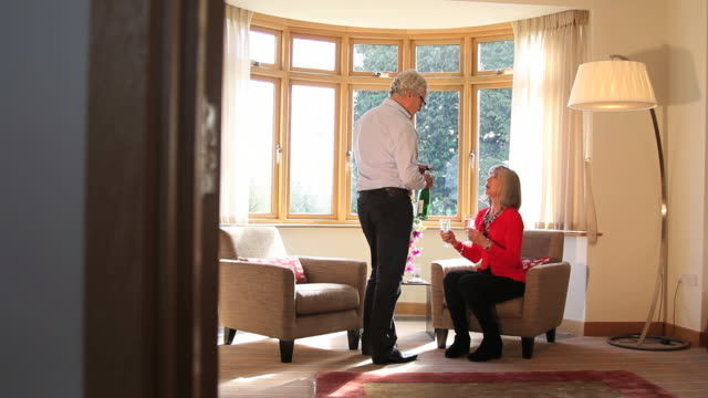 Mature male serving female wine in  living room
