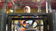 Mature man operating forklift in warehouse