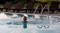 Mature swimming woman