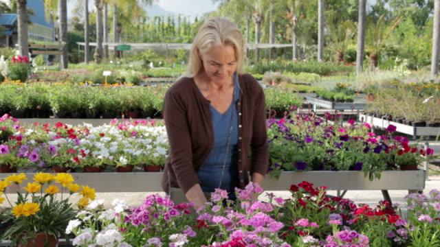 Mature woman choosing flowers in garden centre