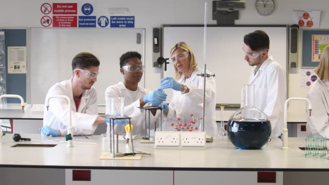 Mature woman teaching chemistry students in the laboratory
