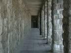 / Mauthausen concentration camp exterior corridor zoom in on door