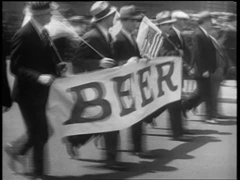 B/W May 1932 PAN men with hats carrying 'Beer' banner walking in Beer Parade / 5th Ave NYC