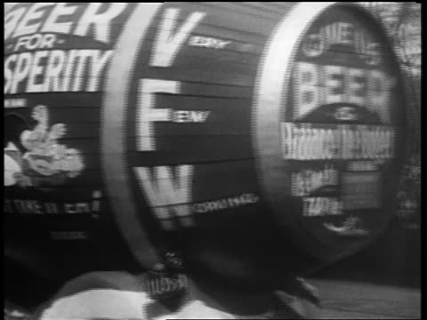 B/W May 1932 REAR VIEW beer barrel float with probeer slogans driving in Beer Parade / 5th Ave NYC