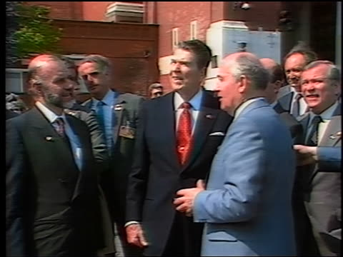 May 1988 Ronald Reagan Mikhail Gorbachev talking surrounded by others in Red Square
