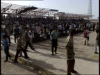 May 8 1999 HS Gathering of soccer fans in front of pavilion Children's Hospital Soccer Field / Basra Iraq