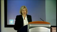 May speech to the College of Policing England College of Policing INT Theresa May MP onto platform to address the College of Policing Theresa May MP...