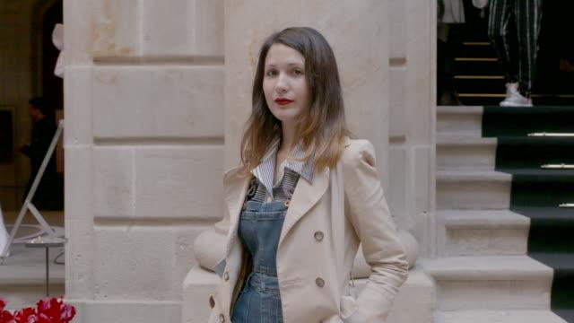 Maya is seen wearing a Denim bag during 'Barcelona 080 Fashion Week' on February 1 2016 in Barcelona Spain