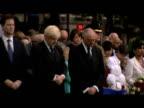 Mayor Boris Johnson aside former mayor Ken Livingston and Liberal democrat leader Nick Clegg lead group in moment of silence in honour of 7/7 bombing...