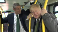 Mayor of London Boris Johnson and Conservative Mayoral candidate Zac Goldsmith on a campaign bus