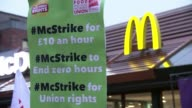 McDonald's UK staff strike for first time ENGLAND London Crayford EXT Various of McDonald's workers on strike
