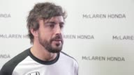 McLarenHonda driver Fernando Alonso is interviewed at the Honda Motor Co headquarters on February 10 2015 in Tokyo Japan Honda Motor Co Ltd held a...