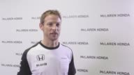 McLarenHonda driver Jenson Button is interviewed at the Honda Motor Co headquarters on February 10 2015 in Tokyo Japan Honda Motor Co Ltd held a...