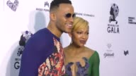 Meagan Good and DeVon Franklin at The Wearable Art Gala at California African American Museum on April 29 2017 in Los Angeles California