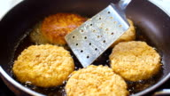 Meat cutlets are fried in pan, slo mo