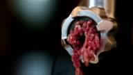 Meat grinder closeup, preparation of forcemeat at home.