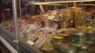 CU Meat in display cabinet at butcher shop / Paris, France