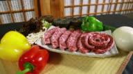 CU ZI Meat of Han-u (a breed of cattle raised in Korea) on plate with vegetables / Yeongju, Gyeongsangbuk do, South Korea