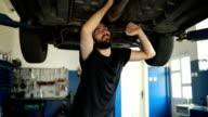 Mechanic repairing car alone
