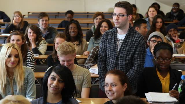Media studies student speaks in lecture room