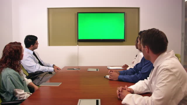 Medical and Business Professionals in Front of Chroma Key Monitor