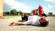 Medical emergency team arrives at street accident