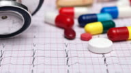 Medicine, track and zoom from an ECG graph tablets to a stethoscope