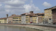 MS Medieval houses at river arno / Pisa, Tuscany, Italy