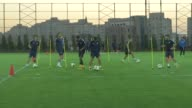 Medipol Basaksehir players take part in a training session led by head coach Abdullah Avci at the Basaksehir Fatih Terim Stadium in Istanbul Turkey...