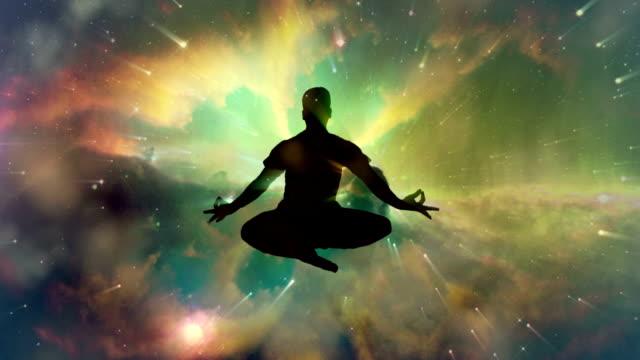 Meditieren Mann Erleuchtung oder meditation und universe