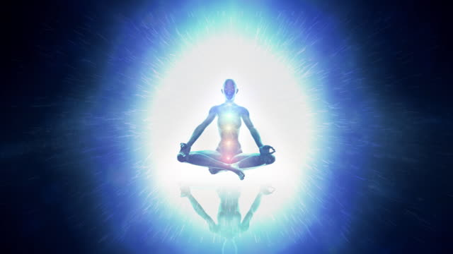 Meditating woman enlightenment or meditation and universe - chakra symbols