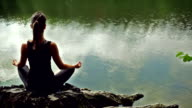 Meditating woman. Rear view.