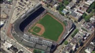 WGN Medium Aerial Shot Of Wrigley Field on June 08 2013 in Chicago Illinois