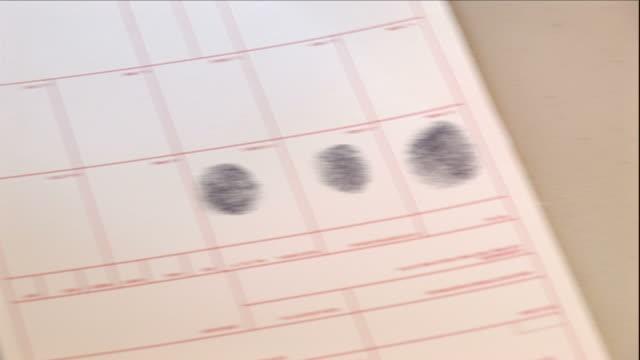 Medium Close Up hand-held - A police officer fingerprints a crime suspect. / USA