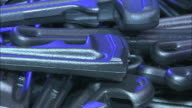 Medium Close Up zoom-out - Wrenches fill a bin at a tool manufacturing plant /  Ohio, United States