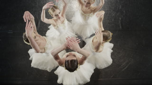 Medium high angle shot of ballerinas dancing in circle / Salt Lake City, Utah, United States