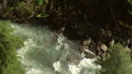 'Medium Long Shot aerial pan-right push-in-A kayaker crosses a rushing river on a zip-line. / Alaska, USA'