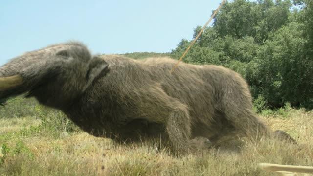 Medium Long Shot static - A prehistoric man hunts a mammoth. / Dallas, Texas, USA