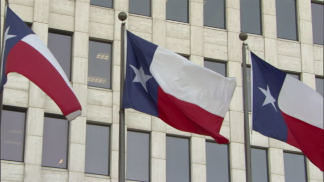 Medium Long Shot static - Texas state flags wave in a breeze. / Houston, Texas, USA