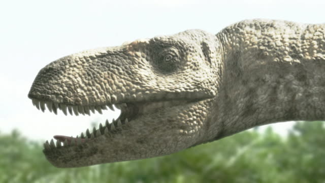Medium Long Shot tracking-left zoom-out - A Tyrannosaurus rex prowls near trees in a computer-generated animation. / Los Angeles, California, USA