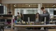 Medium panning shot of businesswomen working together in office / Lehi, Utah, United States